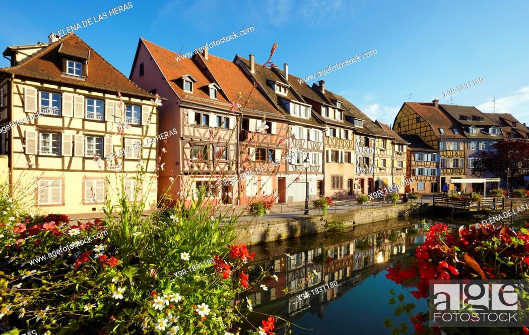 Stock Photo: Timber framing houses at the fishmonger's district, Little venice, Colmar, Alsace, France.