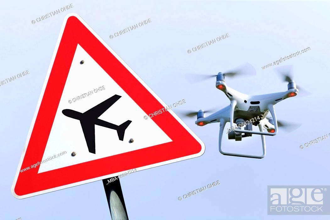 Stock Photo: Drone, drone ban, flight operation.