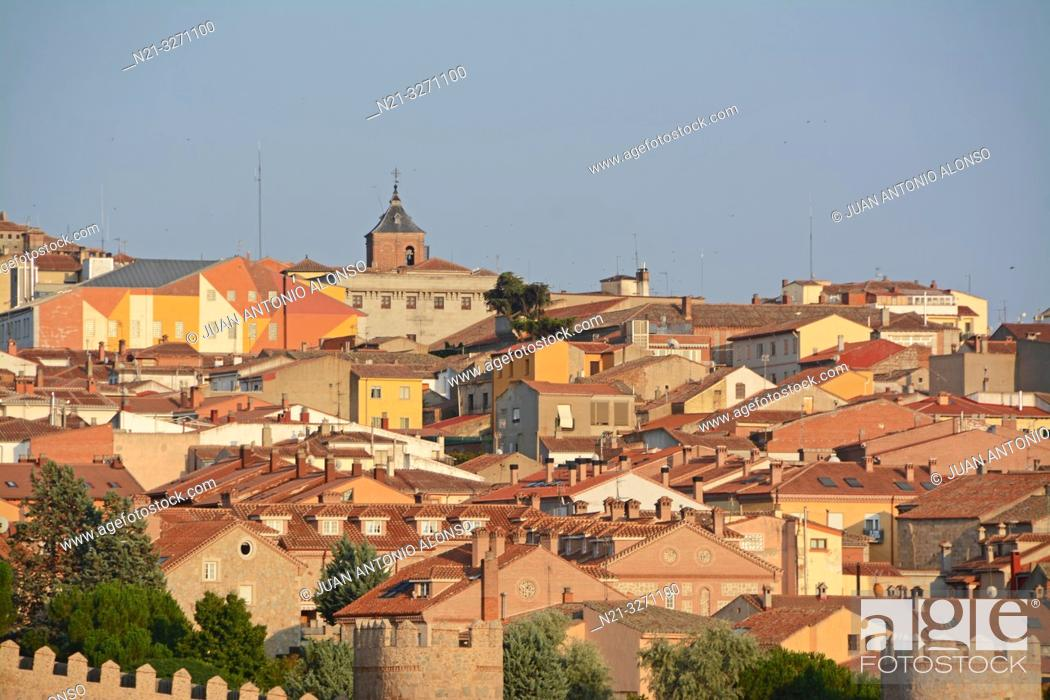 Stock Photo: Partial view of the fortified city of Avila, Castilla-Leon, Spain, Europe.