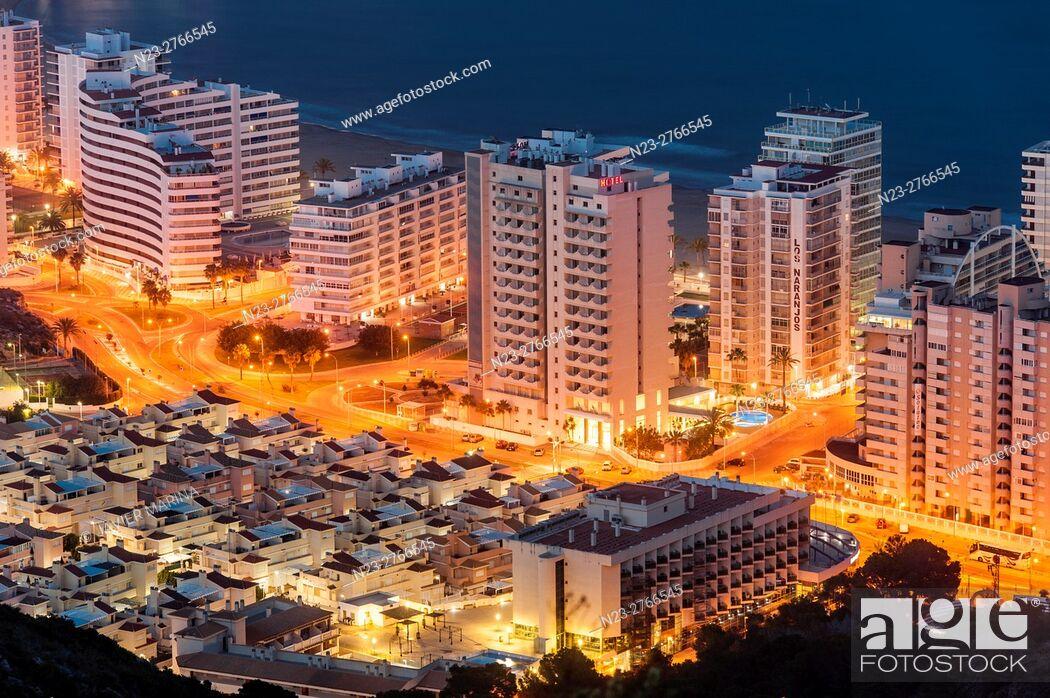 Stock Photo: Nightfall in Cullera, Valencia, Spain.