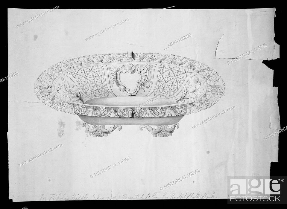 Stock Photo: Design for a fruit or bread basket. Artist: Thomas Fletcher (American, Alstead, New Hampshire 1787-1866 New Jersey); Artist: Sidney Gardiner (American.