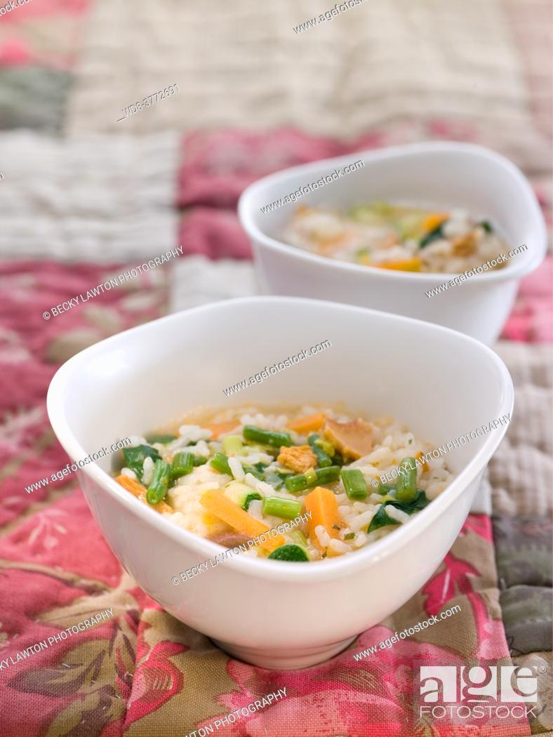 Stock Photo: rice with vegetables and mushrooms.