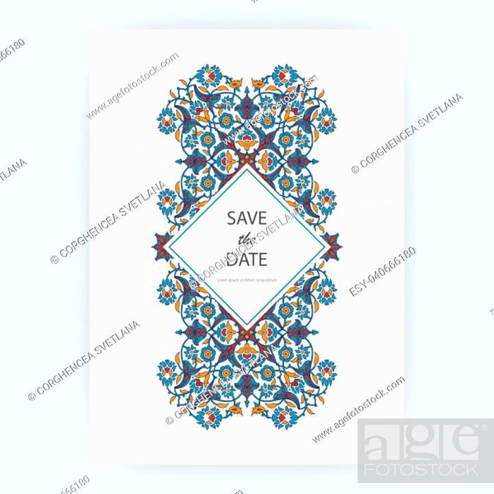 Stock Photo: Arabesque floral decoration print, border design template vector. Oriental flowers style pattern. Eastern motif element. Ornamental frame illustration.