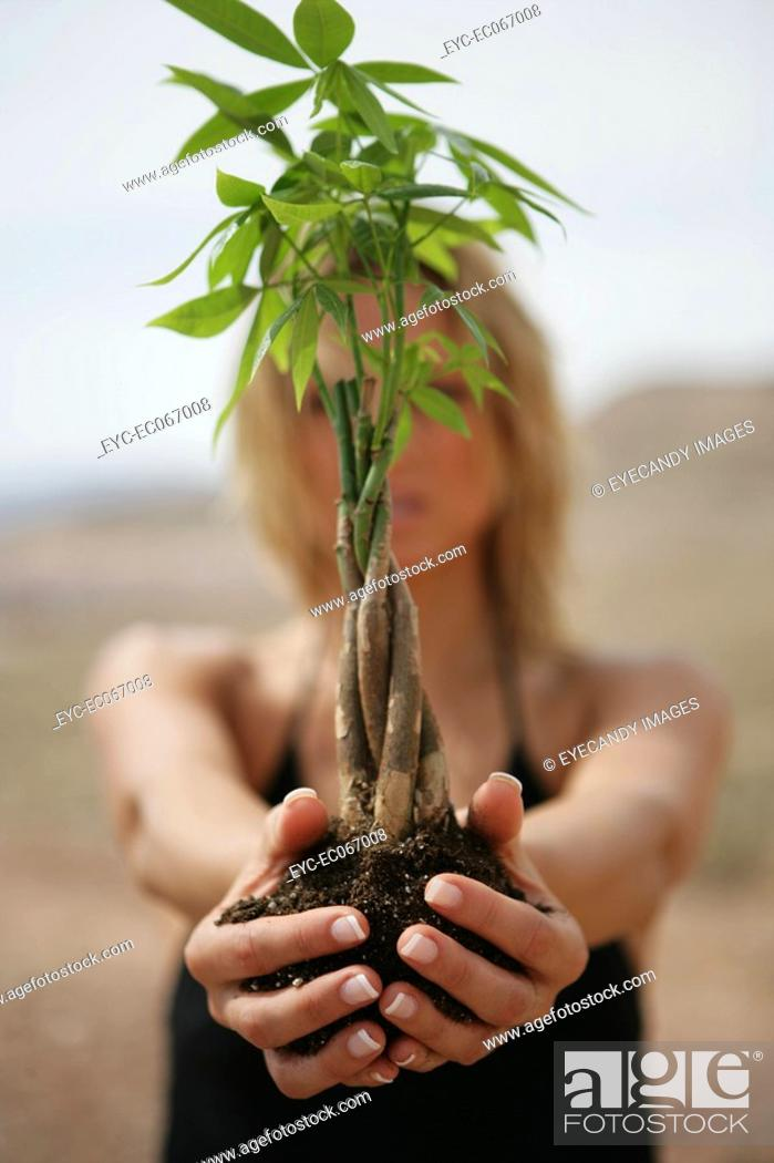 Stock Photo: Woman with her arms outstretched holding a bamboo plant.