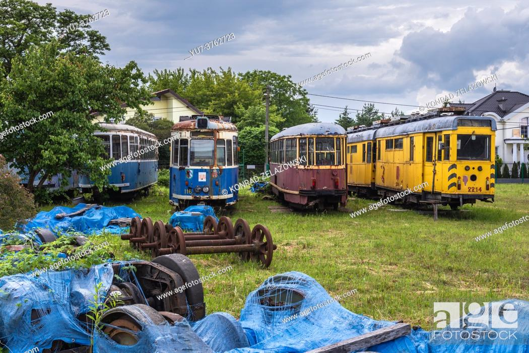 Stock Photo: Tram cemetery in Skorosze area of Warsaw city, Poland.