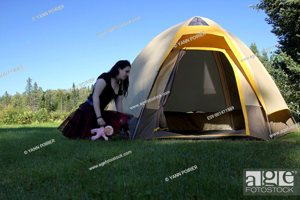 Stock Photo: Goth girl camping.