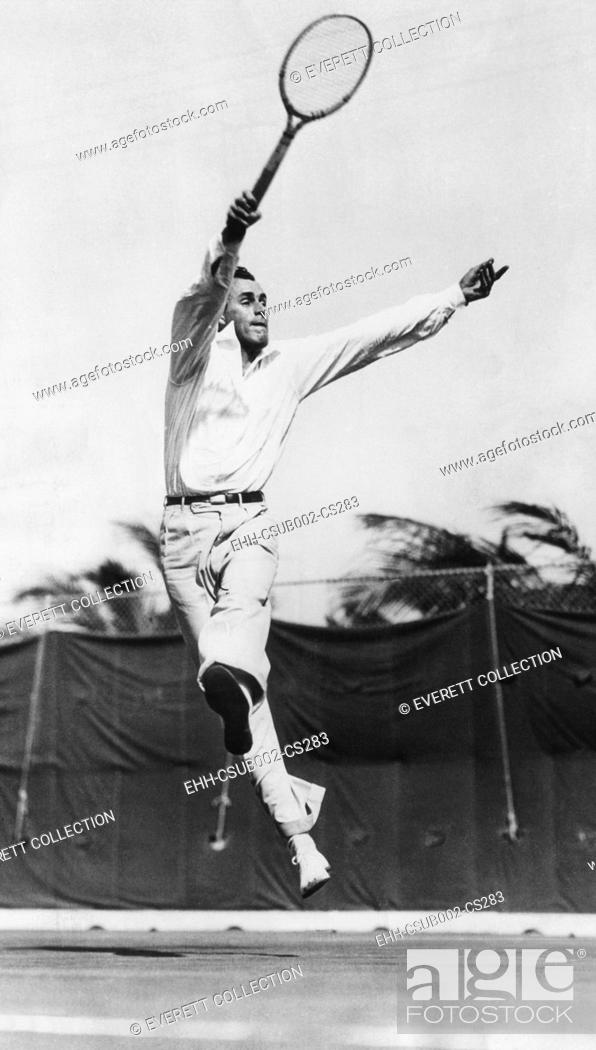 Stock Photo: Bill Tilden, tennis champion of the 1920s in flight on the tennis court. (CSU-2015-11-1317).