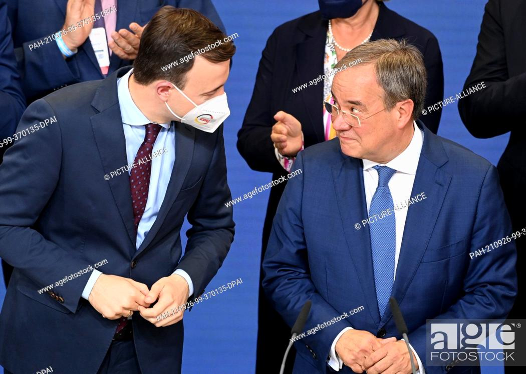 Stock Photo: 26 September 2021, Berlin: Armin Laschet (r), Federal Chairman of the CDU, top candidate of his party and Minister President of North Rhine-Westphalia.