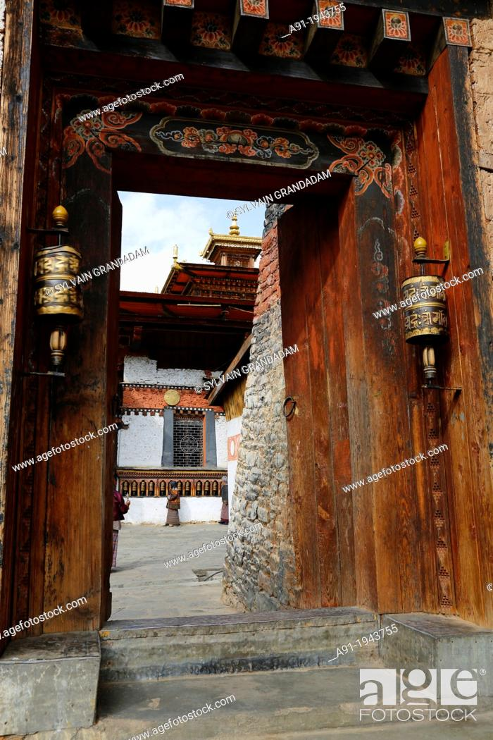 Stock Photo: Bhutan (kingdom of), City of Thimphu, Changangkha Monastery entrance.