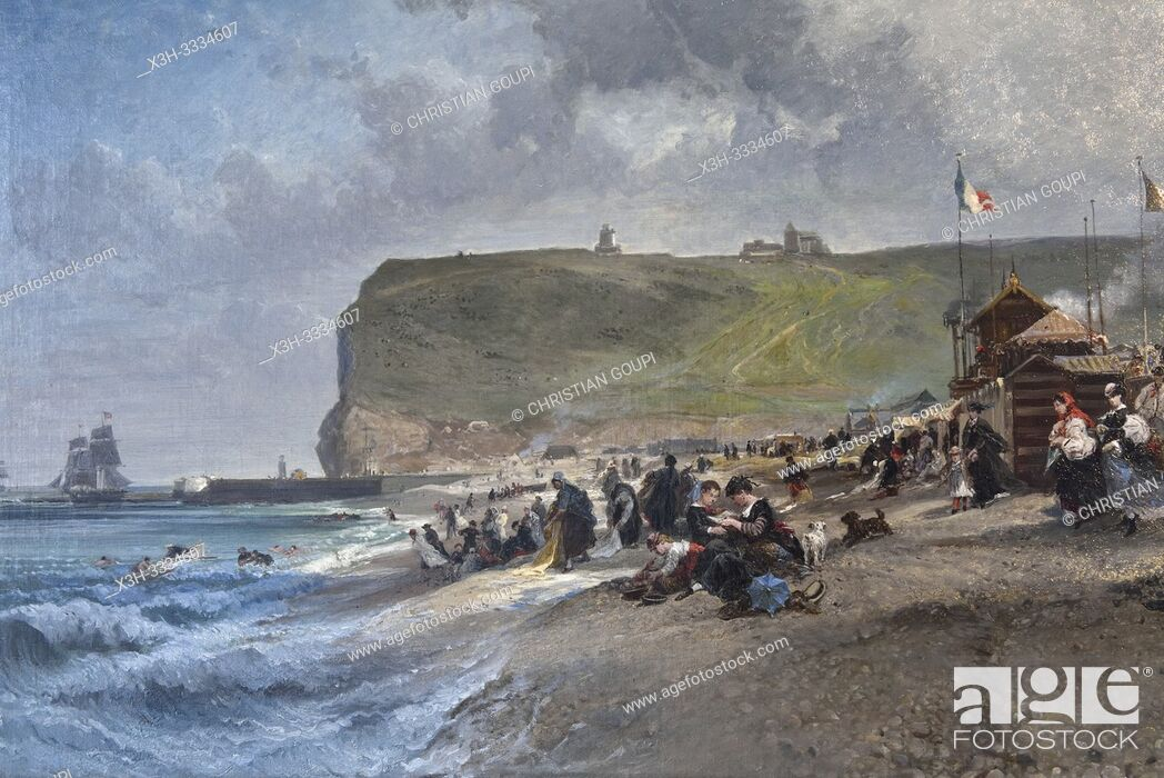 "Stock Photo: ""Crinolines sur la plage, 1871"", oeuvre de Jules Noel (1810-1881), Musee des Pecheries, Fecamp, departement de Seine-Maritime, region Normandie."
