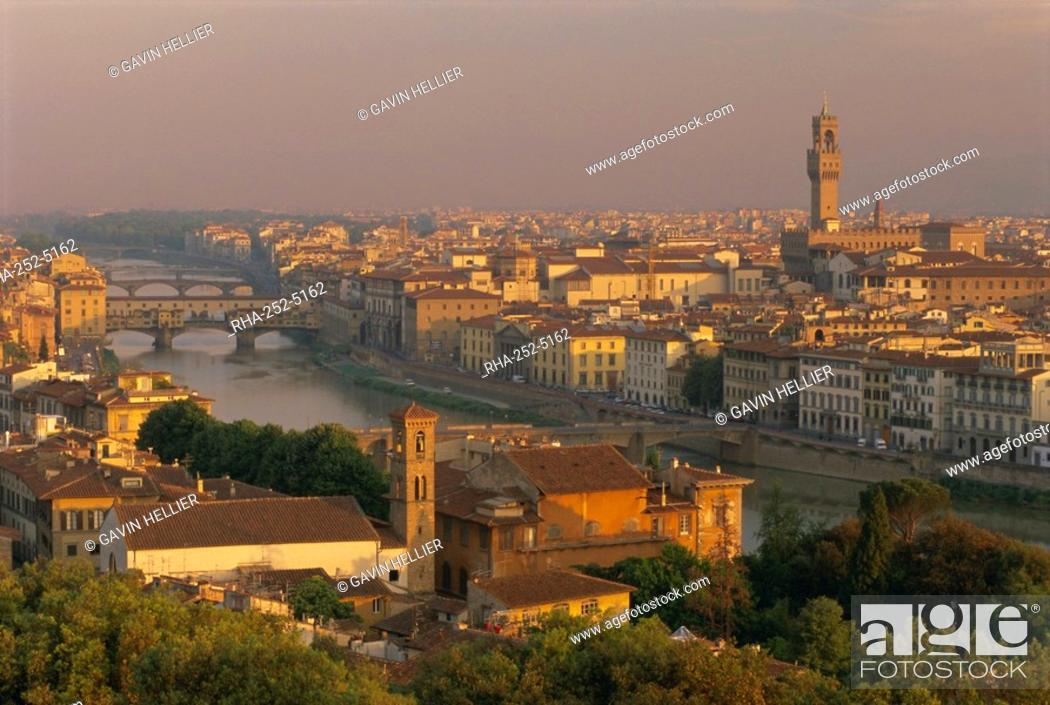 Stock Photo: View over the River Arno and city skyline, Florence, Tuscany, Italy, Europe.