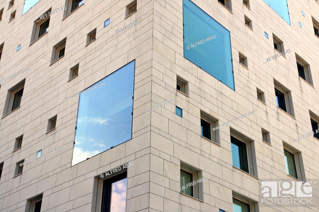 Stock Photo: glazed windows, residential building, Nantes, France.