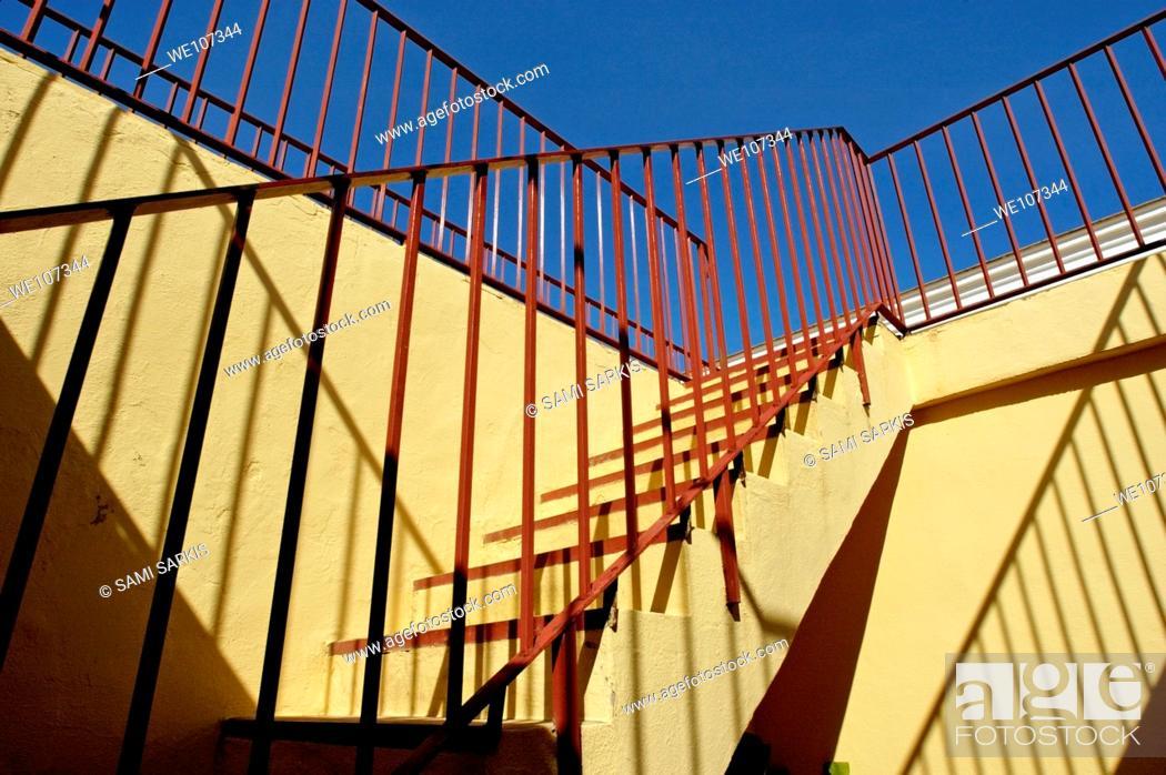 Stock Photo: Staircase inside Plaza de Toros de Ronda, a bullring arena in Ronda, Andalusia, Spain.