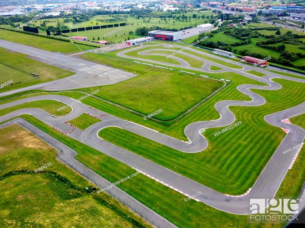 Stock Photo: Fernando Alonso Museum and kart circuit, Llanera, Asturias, Spain.