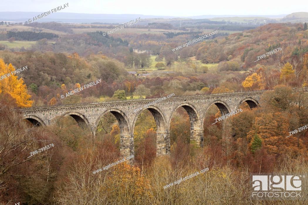 Stock Photo: Lambley Viaduct Haltwhistle to Alston railway. Haltwhistle, Northumberland, England, United Kingdom. Autumn.