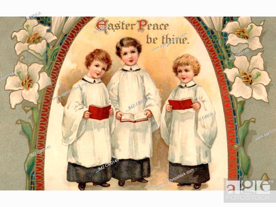 Stock Photo: A vintage Easter postcard of three choir boys.