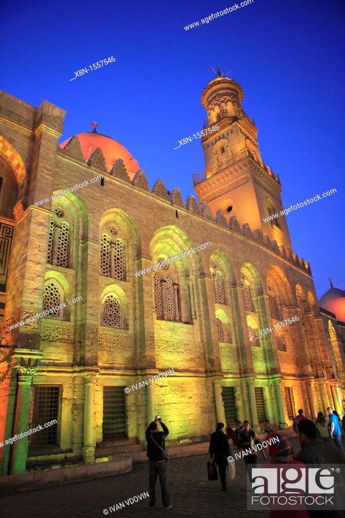 Stock Photo: Sultan Qalawun mausoleum 1285 at night, Cairo, Egypt.