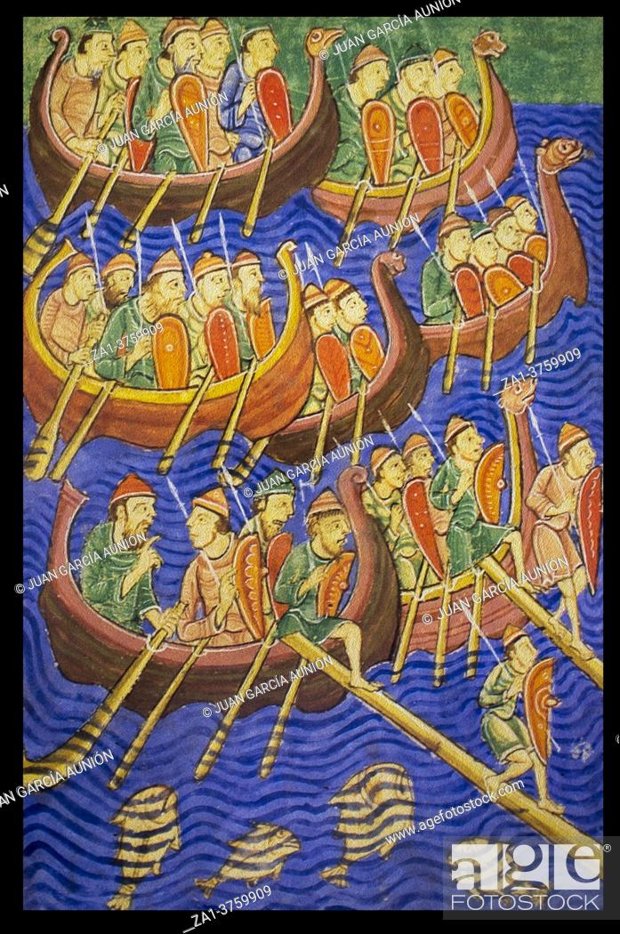 Stock Photo: Large Danish army arriving East Anglia in 866. 9th Century Anglo-Saxon Chronicle.