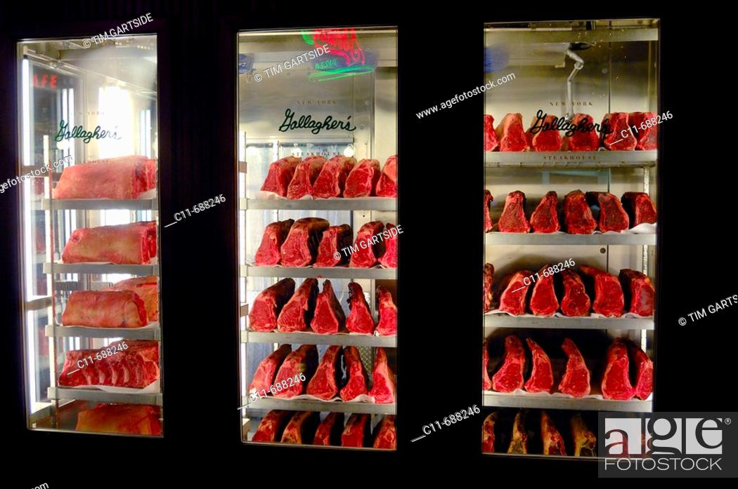 Stock Photo Aged D Hung Beef Meat For Gallagher S Restaurant At New York Hotel Las Vegas Nevada Usa America