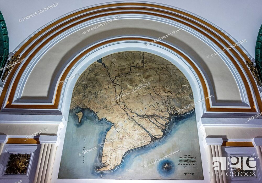 Stock Photo: Vietnam, Ho Chi Minh City (Saigon), Central Post Ofice, Map of Telegraph lines in Cochinchina in the 1930's.