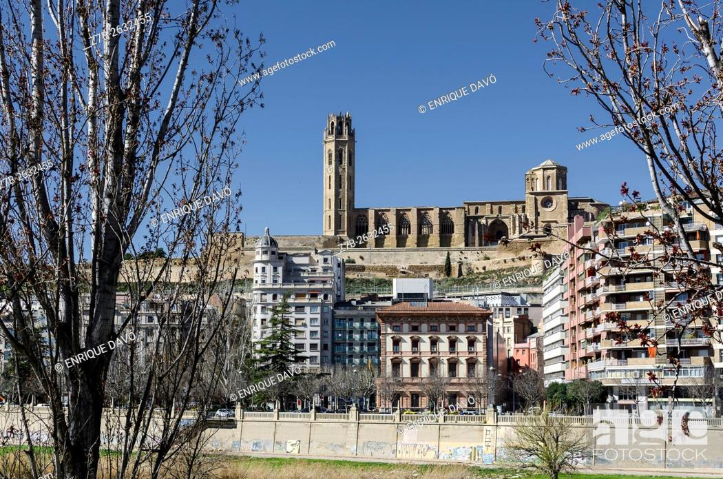 Stock Photo: A Cathedral sight in Lleida city, closed to the Segre river, Catalonia, Spain.