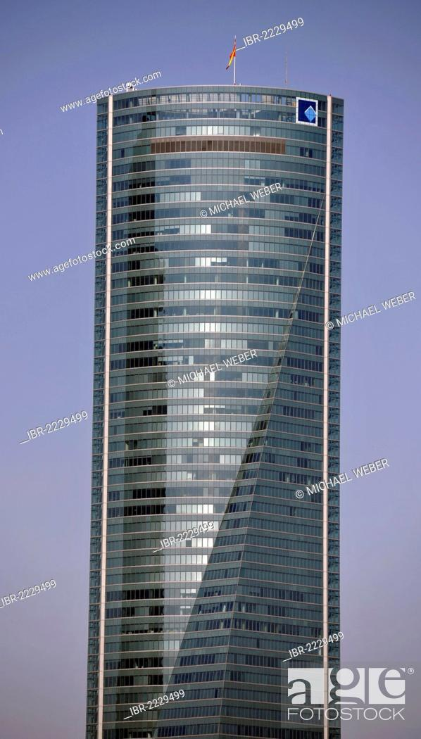 Stock Photo: Cuatro Torres Business Area, formerly the Madrid Arena, with four skyscrapers, here Torre Espacio, Madrid, Spain, Europe, PublicGround.