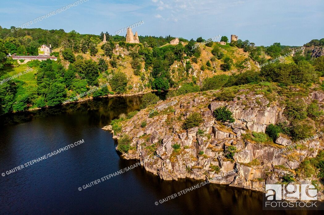 Stock Photo: THE CREUSE AND THE MEDIEVAL FORT OF CROZANT, (23) CREUSE, LIMOUSIN, NEW AQUITAINE, FRANCE.