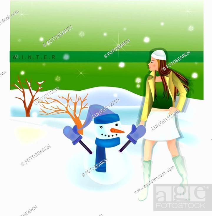 Stock Photo: hat, snow, outdoors, seasons, snowman, natural.
