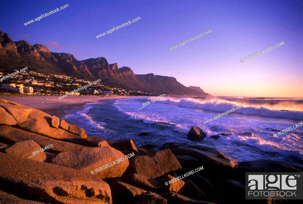 Stock Photo: Scenic Twelve Apostles & Camps Bay Coastline, Capetown, South Africa.