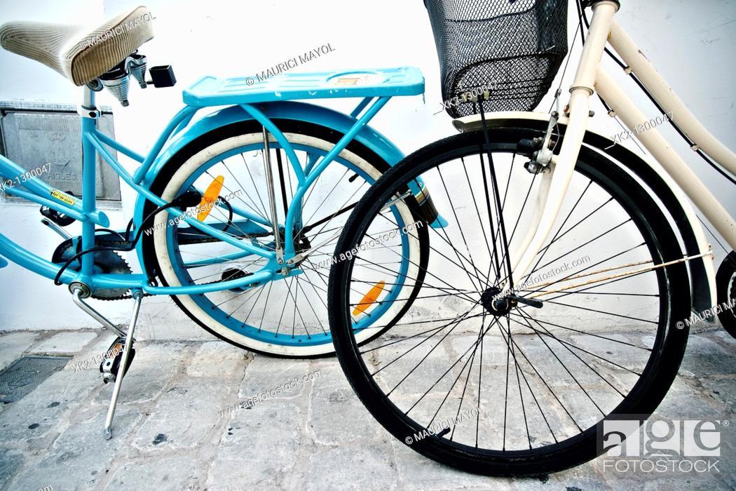 Stock Photo: Bikes, old town, Ciutadella de Menorca, Minorca, Balearic Islands, Spain.