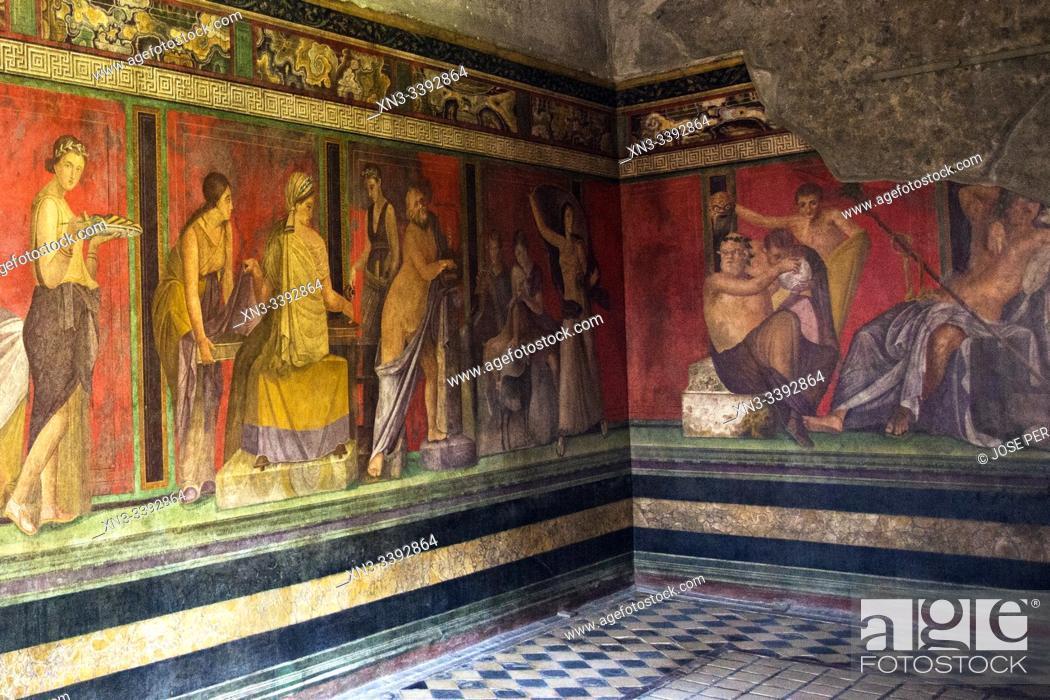 Stock Photo: Roman fresco, Villa of the Mysteries, Villa dei Misteri, Excavations of Pompeii, was an ancient Roman town destroyed by volcan Mount Vesuvius, Pompei.