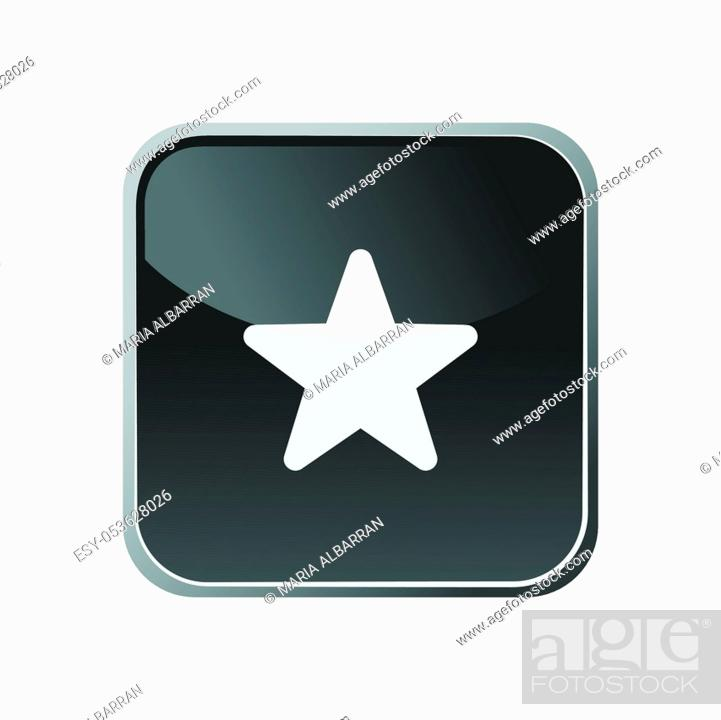 Stock Vector: Star icon on a square button. Vector illustration.
