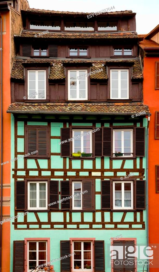 Stock Photo: facade of the old house in Strasbourg.