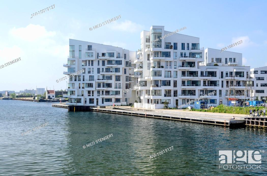 Stock Photo Havneholmen Modern Apartment Houses Designed By Lundgaard Tranberg Architects Islands Brygge Sydhavnen Copenhagen Denmark