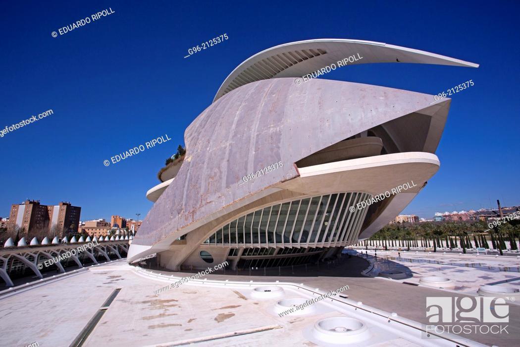 Stock Photo: Palau de les Arts Reina Sofia opera house at the Ciudad de las Artes y las Ciencias de Valencia by Santiago Calatrava.