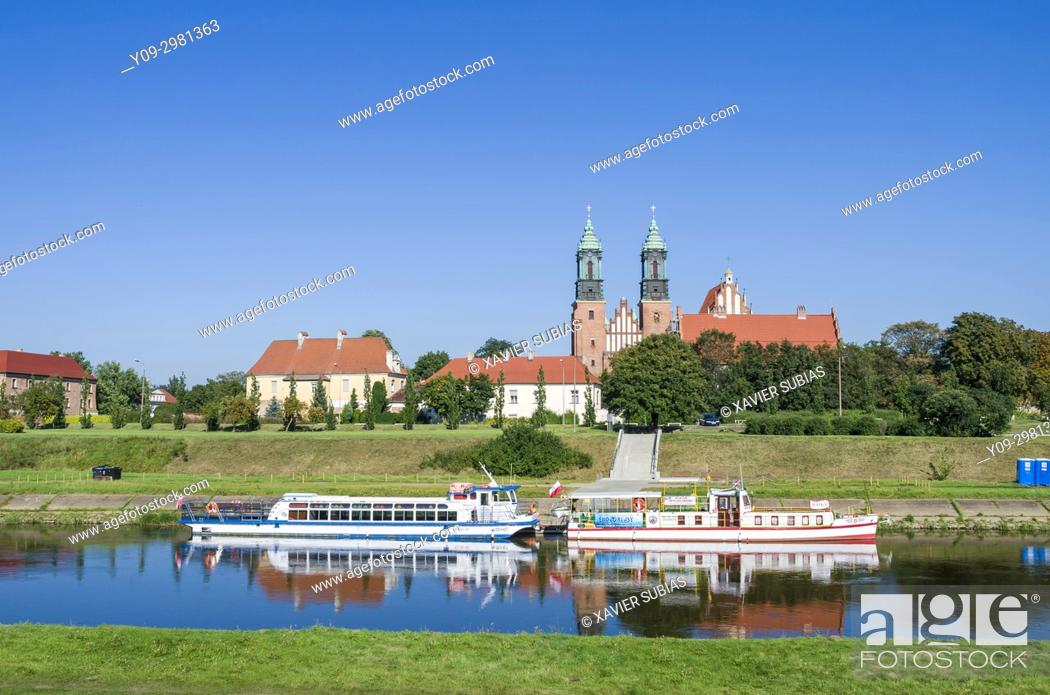 Stock Photo: Basilica of St Peter and St Paul, Warta river, Poznan, Poland.