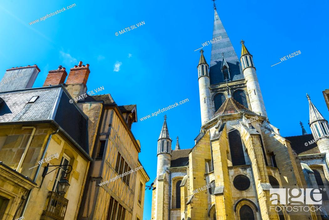 Stock Photo: Cathedral in Dijon in a Sunny Day in France.