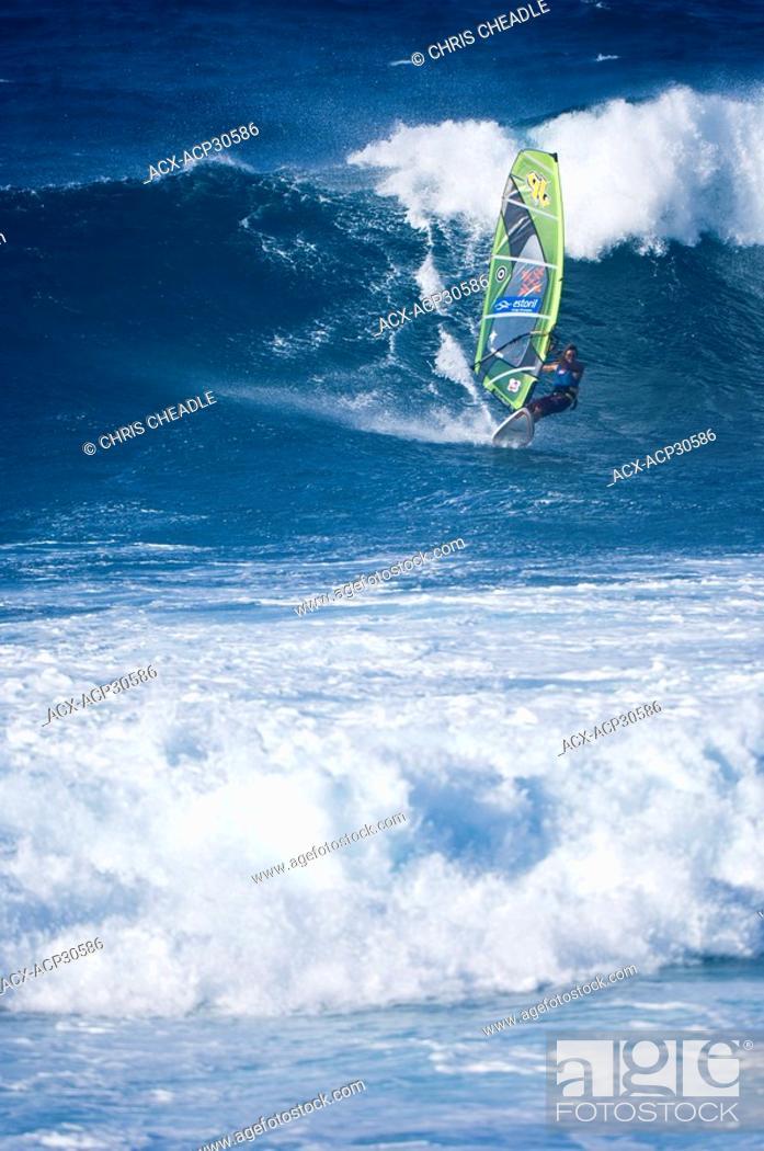 Sailboarding at Paia Bay, Maui, Hawaii, United States, Stock Photo