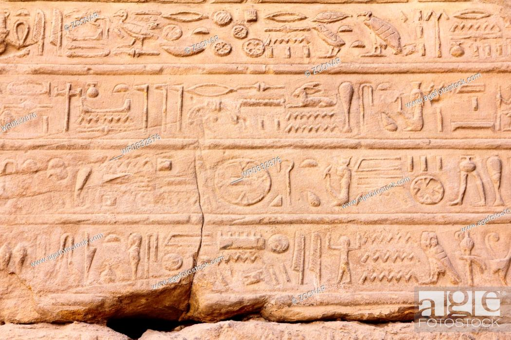 Stock Photo: ancient egypt hieroglyphics on wall in karnak temple.