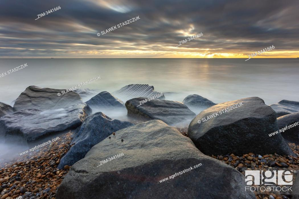 Stock Photo: Sunset on the beach in Shoreham, West Sussex, England.