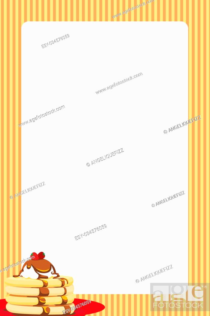 Stock Photo: Bright border featuring a pancake stack with syrup. Can be used as a background for a menu or break/brunch invitation.