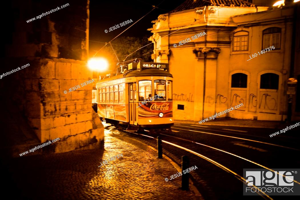 Stock Photo: Tram 28 in Lisboa, Portugal.