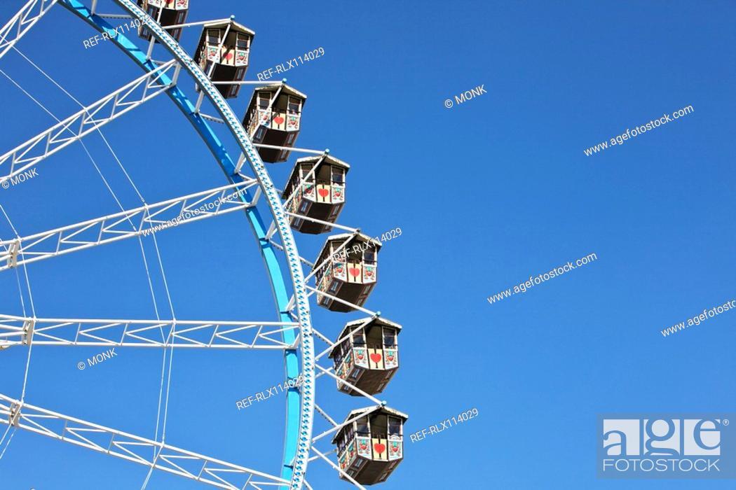 Stock Photo: Detail of Ferris wheel at Oktoberfest beer festival, Munich, Germany.