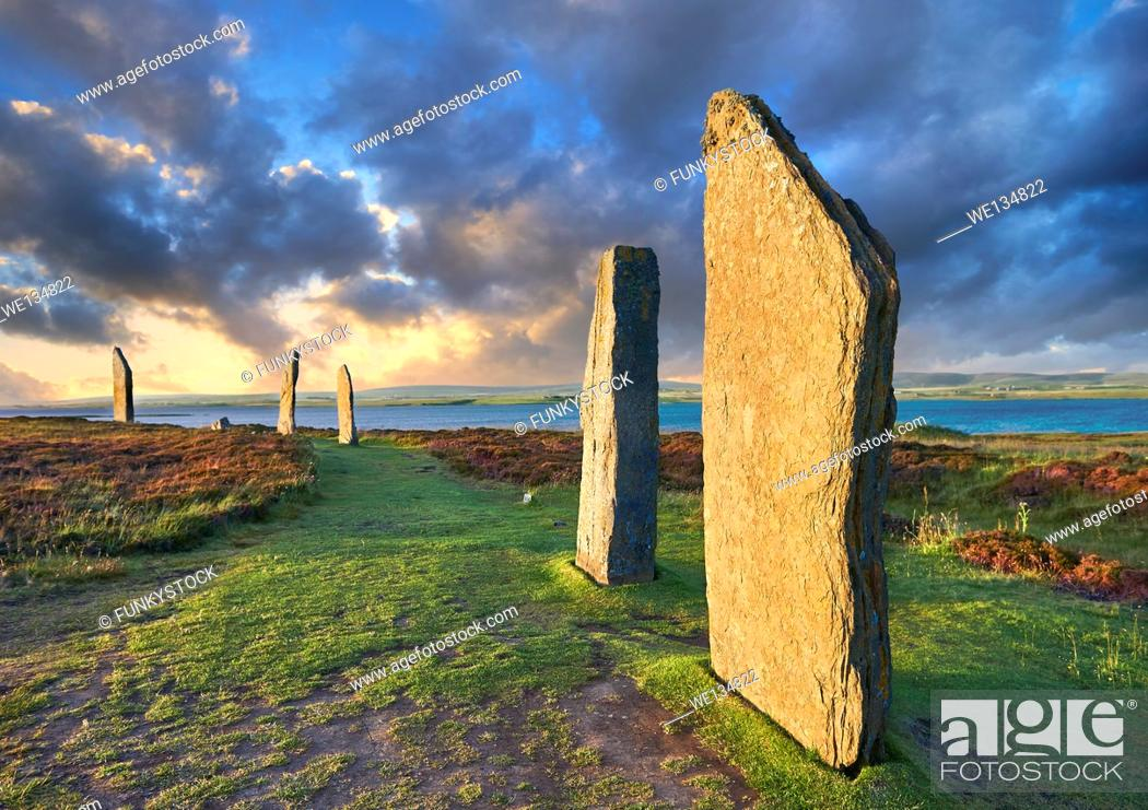 Stock Photo: The Ring of Brodgar ( circa 2,500 to 2,000 BC) is a Neolithic henge with a stone circle inside, the third largest in the British Isles and a UNESCO World.