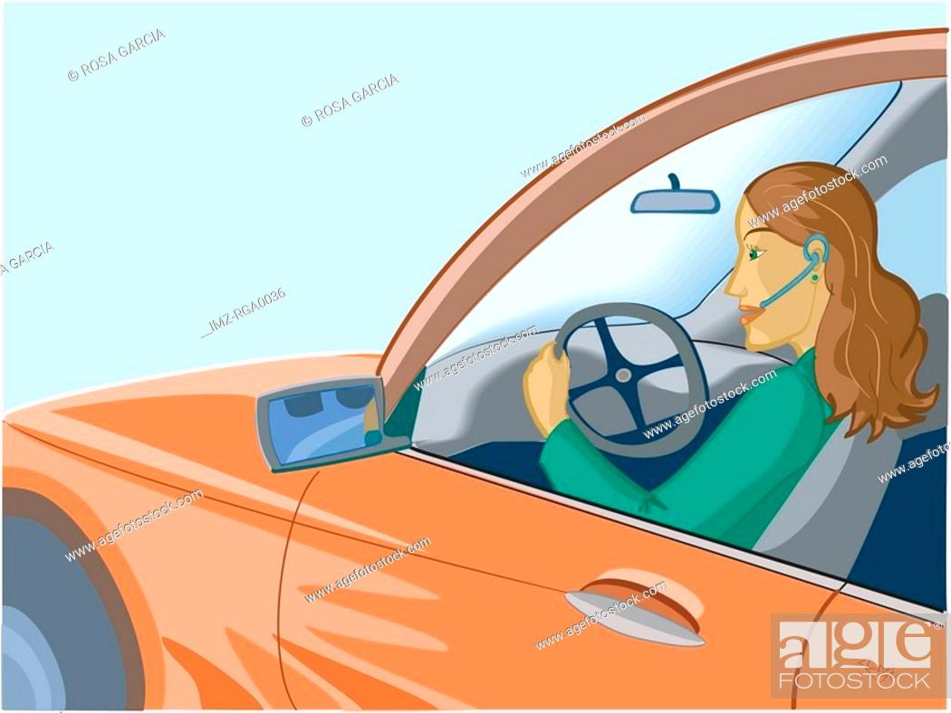 Stock Photo: A woman talking on her phone while driving.