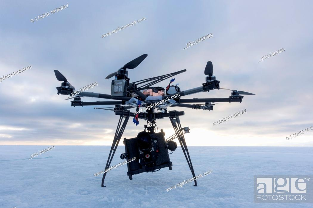 Stock Photo: Octocopter drone used for filming 4G, hi definition filming during an Arctic documentary.
