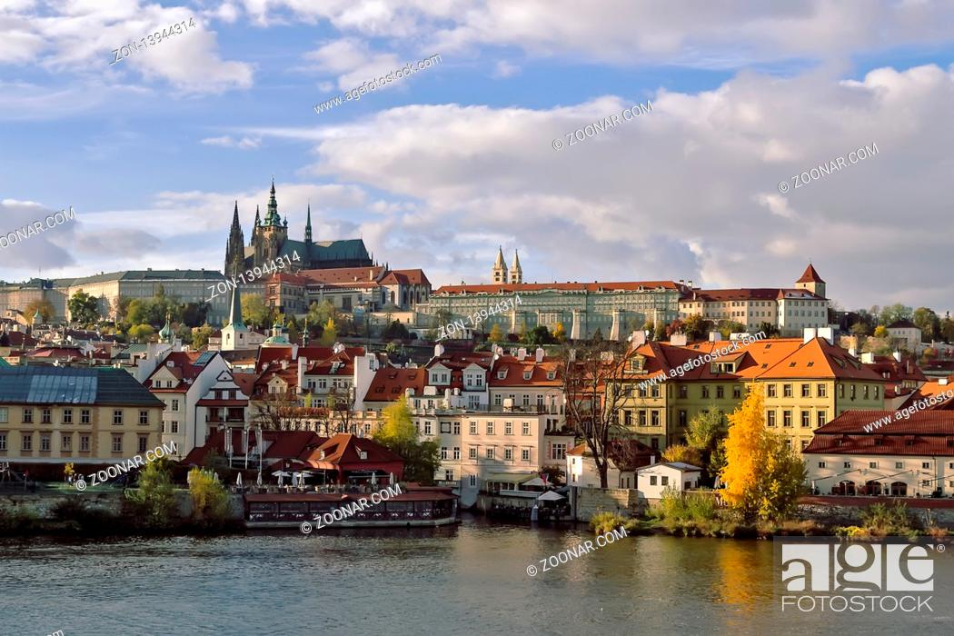 Stock Photo: view on Prague castle from Charles Bridge.