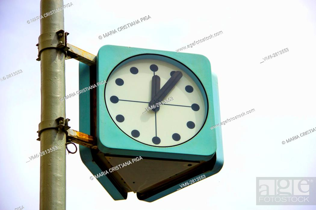 Stock Photo: Street clock in Prague, Czech Republic.