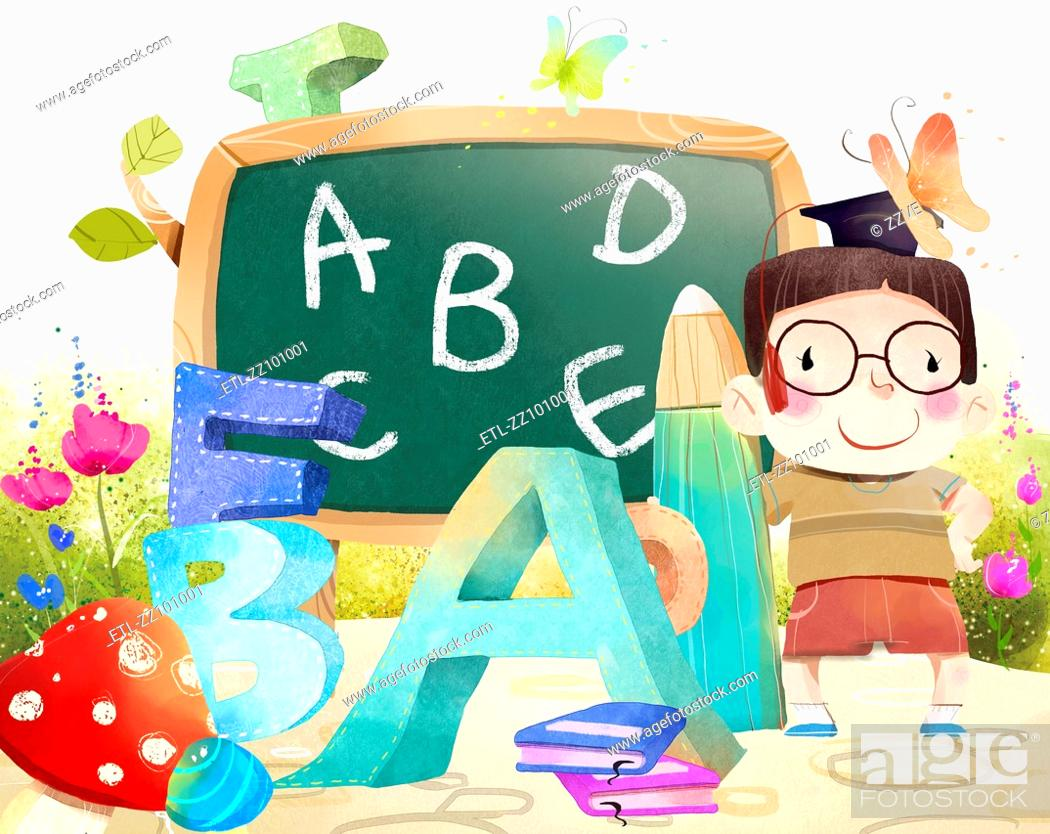Stock Photo: Portrait of boy with Blackboard and Alphabets.