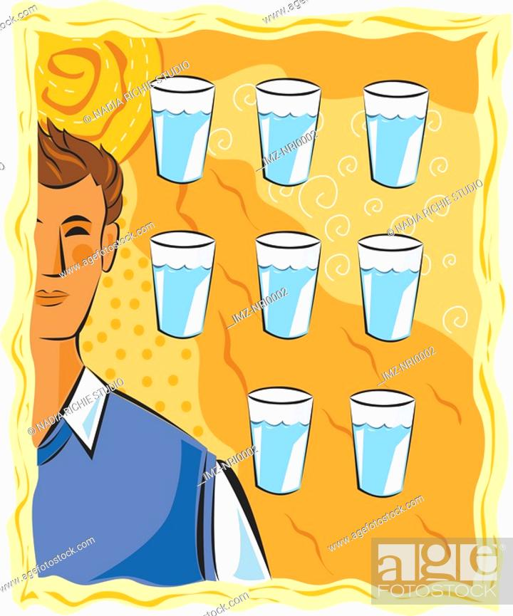 Stock Photo: Eight glasses of water a day.